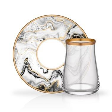 Glore Tarabya Marble 6'Lı Çay Seti Renkli